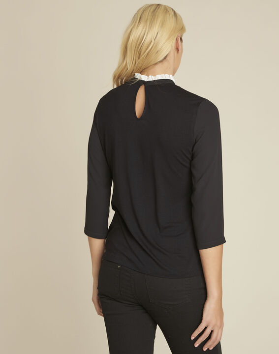 Cunegonde black blouse with lace neckline  (4) - 1-2-3