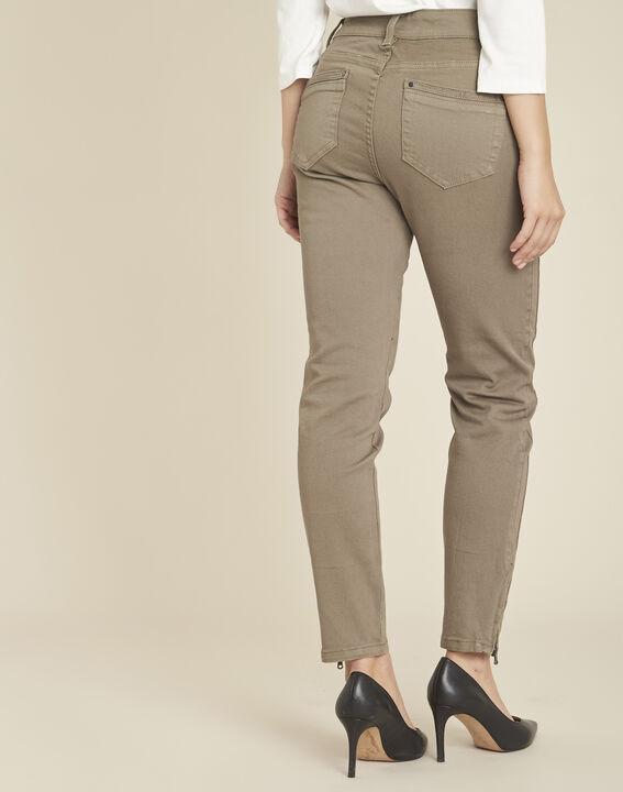 Hellgrüne 7/8-Slim-Fit-Jeans mit Reißverschlüssen Opéra (4) - 1-2-3