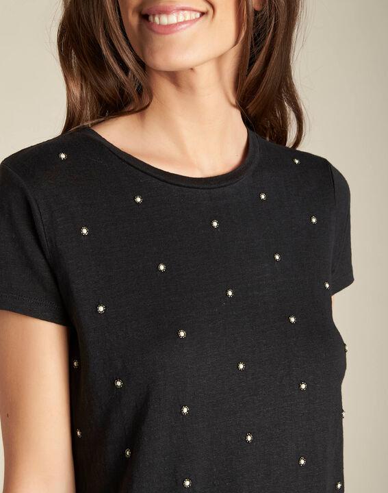 Schwarzes Leinen-T-Shirt mit Perlen Epearls PhotoZ   1-2-3