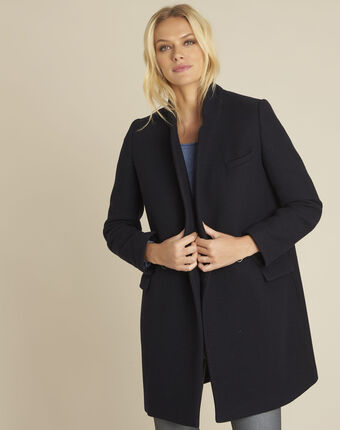 Eclat navy cross-over wool coat navy.