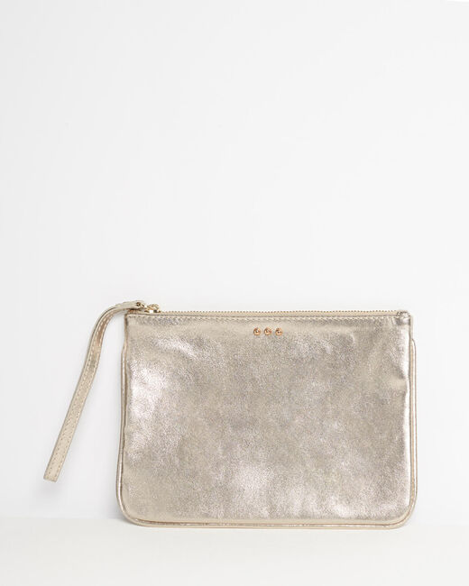 Droopy metallic clutch with leather straps (1) - 1-2-3