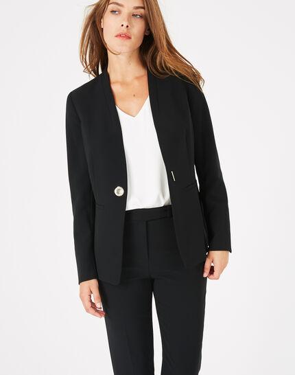 Veste de tailleur noire mi-longue Majeste (2) - 1-2-3