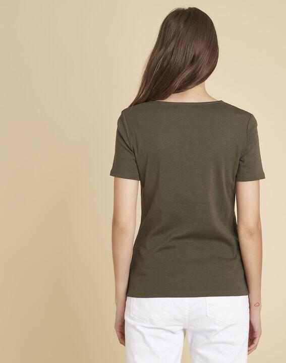 Kaki T-shirt met fantasierijke halsopening Etincelant (3) - 37653