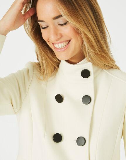 Jasmin wool mix ecru coat with high collar (3) - 1-2-3