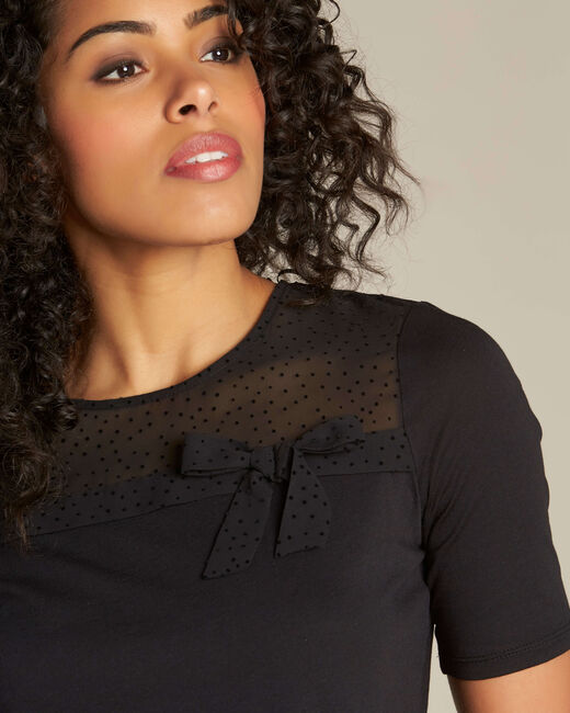 T-shirt noir à noeud Elouisa (2) - 1-2-3