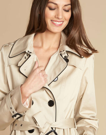 Kate beige braided trench coat beige.