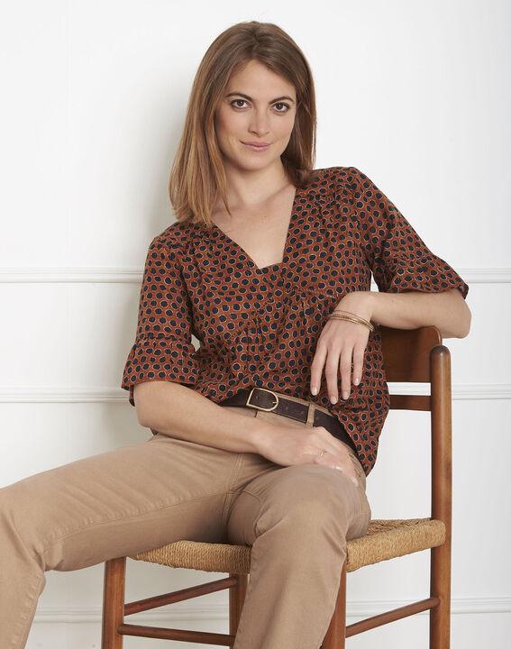 Mahagonifarbene Bluse mit Print Velena PhotoZ | 1-2-3