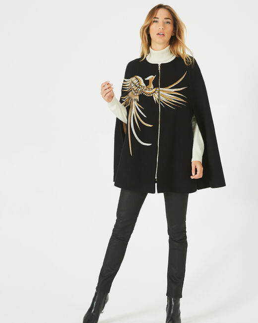 Joenix black, zipped wool cape with embroidered phoenix (1) - 1-2-3
