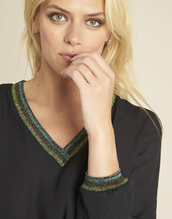 Carla black blouse with decorative V-neckline (3) - 1-2-3