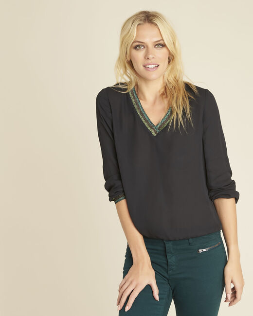 Carla black blouse with decorative V-neckline (1) - 1-2-3