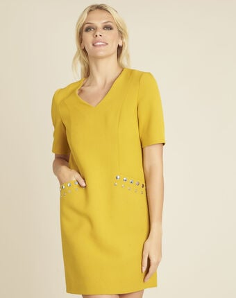 Robe jaune compacte clous poches daisy ocre.