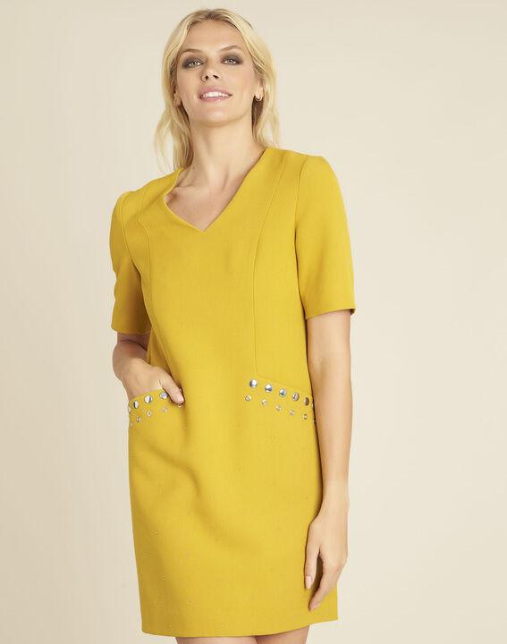 Gele compacte jurk met studs aan de zakken Daisy PhotoZ | 1-2-3