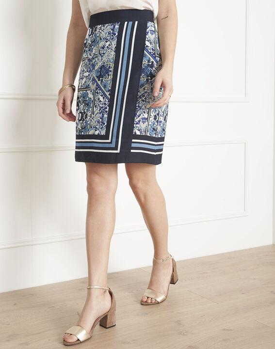 Jupe bleue imprimé foulard Stormy (2) - Maison 123