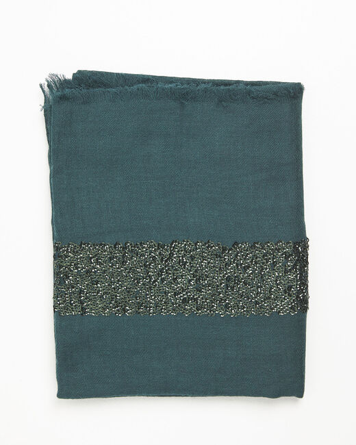 Fiona dark green wool blend scarf with sequins (2) - 1-2-3