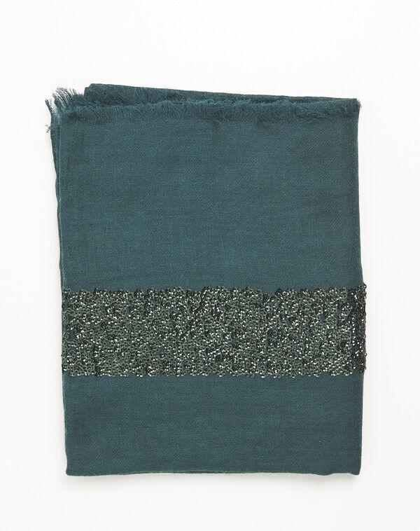 Foulard vert foncé sequins en laine mélangée Fiona (2) - 1-2-3