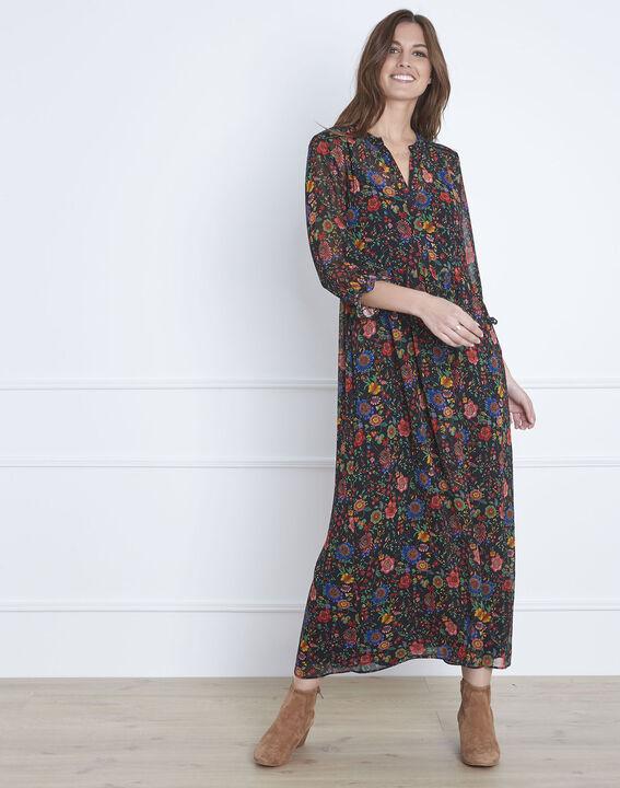 Robe noire longue imprimé fleuri Libra PhotoZ | 1-2-3