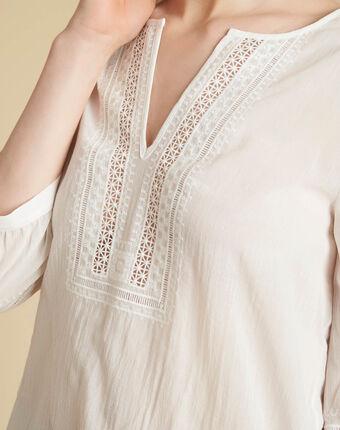 Ecrufarbene bluse mit spitzenausschnitt gabi ecru.