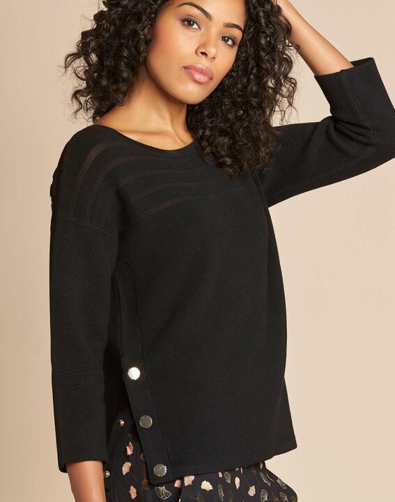 Fantasievoller schwarzer Pullover mit transparenten Streifen Hypnose (1) - 1-2-3