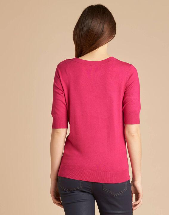 Natacha fuchsia sweater with rounded neckline (4) - 1-2-3