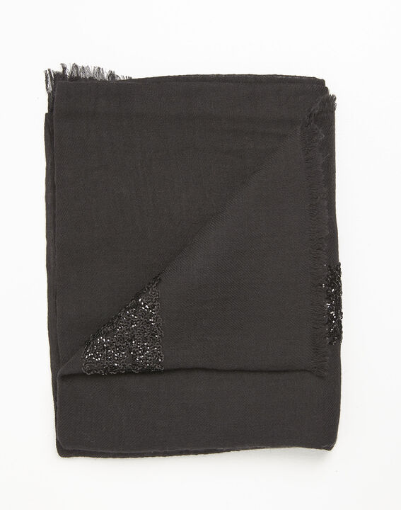 Fiona black wool blend scarf with sequins (2) - 1-2-3