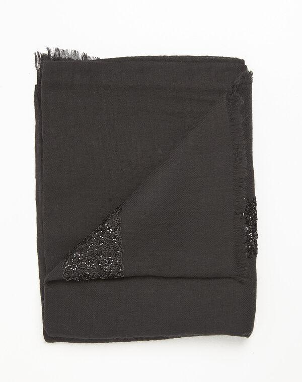 Foulard noir sequins en laine mélangée Fiona (1) - 1-2-3