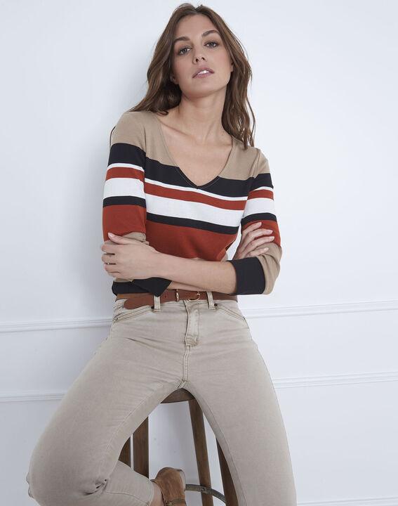 Tee-shirt marron rayé encolure V Gayure (1) - Maison 123