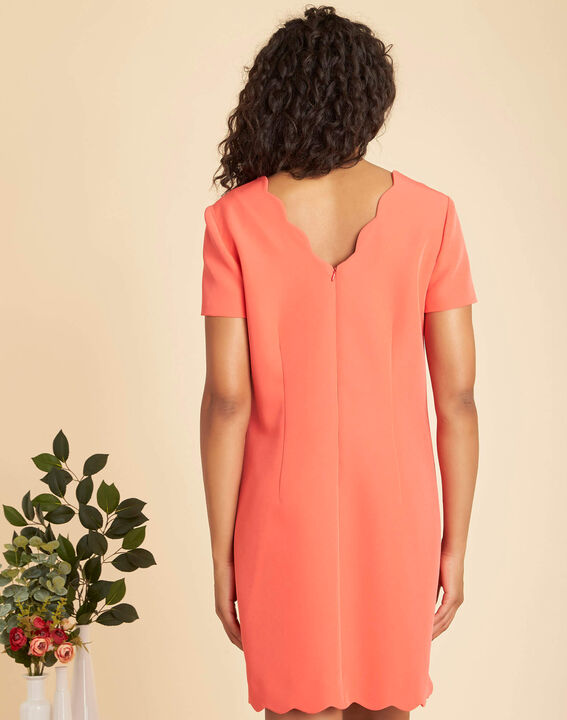 Indira straight-cut coral crepe dress (4) - 1-2-3