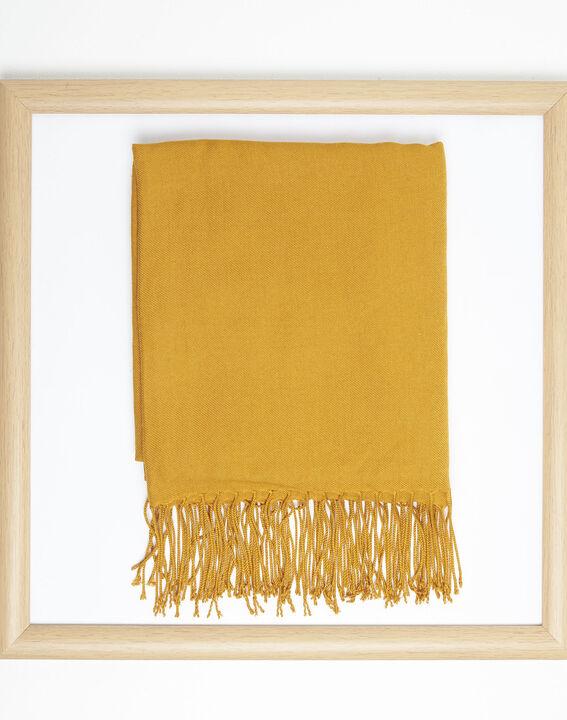 Okergele sjaal met franjes van viscose Fossette PhotoZ | 1-2-3