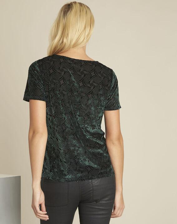 Tee-shirt vert foncé velours et dévoré Gelvet (4) - 1-2-3