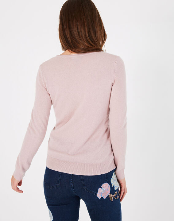 Pivoine pink V-neck sweater in cashmere (4) - 1-2-3