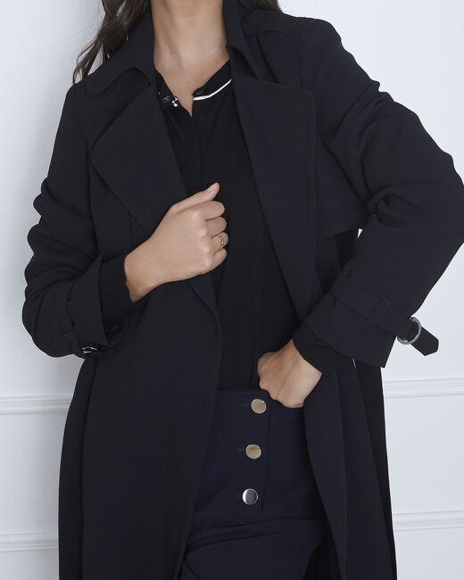 Klara long black coat with tailored collar (2) - 1-2-3