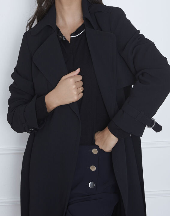 Klara long black coat with tailored collar (3) - 1-2-3