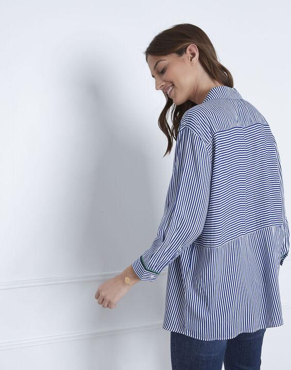 Blauwe blouse met fijne strepen Darwin (4) - Maison 123