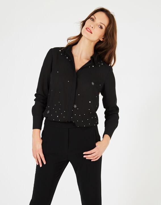 Chemise noire ornée de cristaux Swarovski Yasmine (5) - 1-2-3