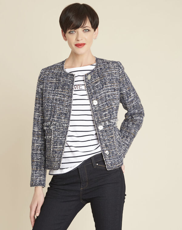 Selena cobalt blue short jacket in a decorative knit (2) - 1-2-3