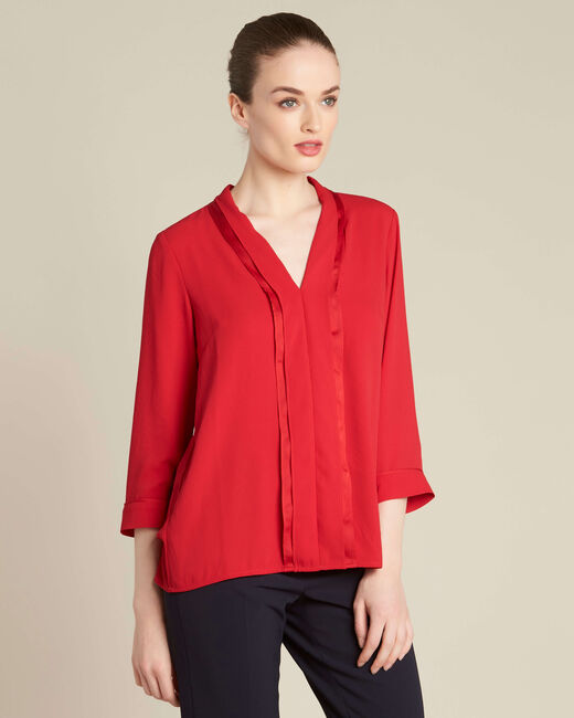 Elea red blouse with romantic neckline (2) - 1-2-3