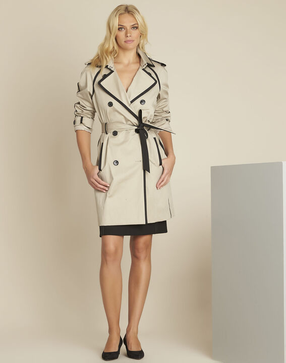 Eloise camel trenchcoat with contrasting bias (2) - Maison 123