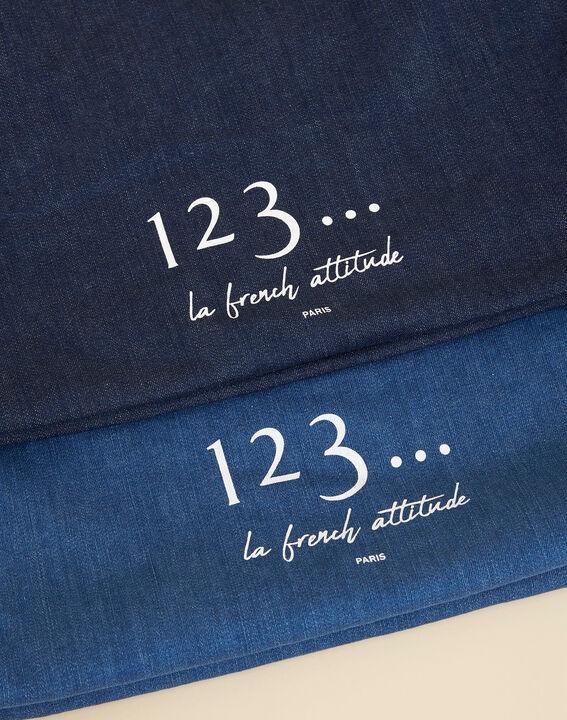 Diva blue denim-effect tote bag PhotoZ | 1-2-3