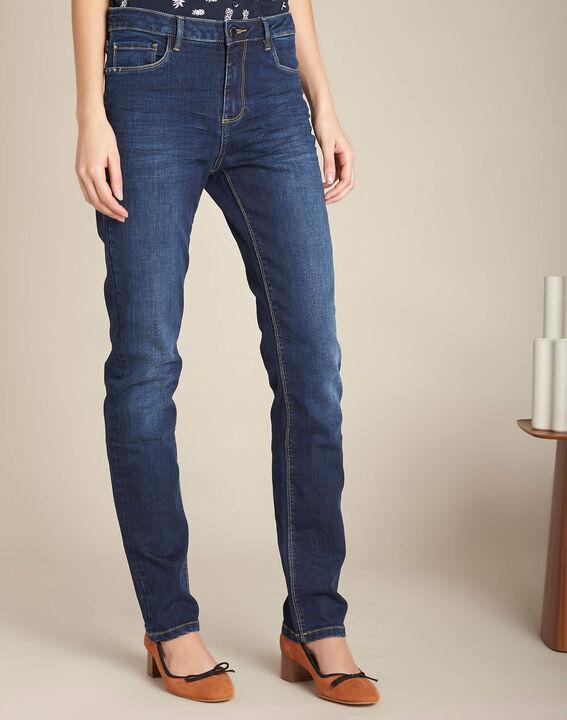 Dunkelblaue gerade Jeans normale Leibhöhe Vivienne (3) - 1-2-3