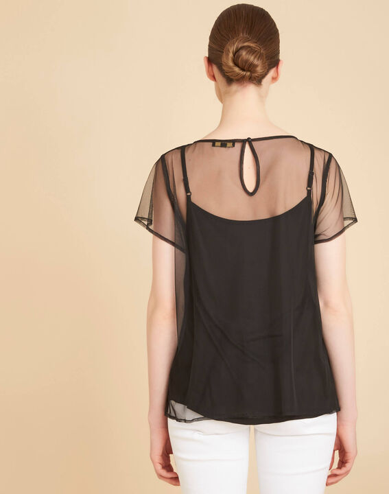 Tee-shirt noir transparent brodé fleurs Garden Hypnose (4) - 1-2-3