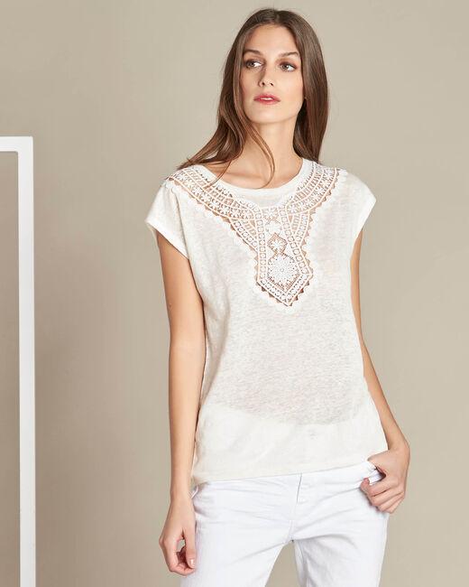 Ecrufarbenes Leinen-T-Shirt mit Spitzenausschnitt Elise (2) - 1-2-3