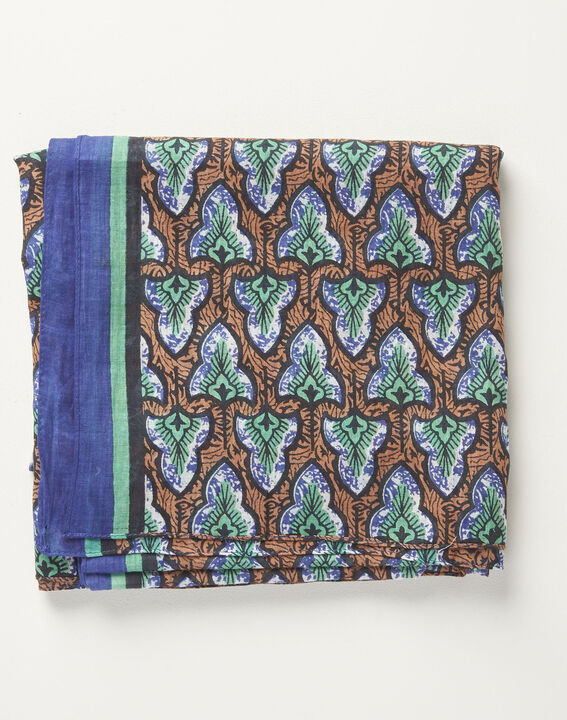 Amelia navy blue printed ottoman cotton scarf (1) - 1-2-3