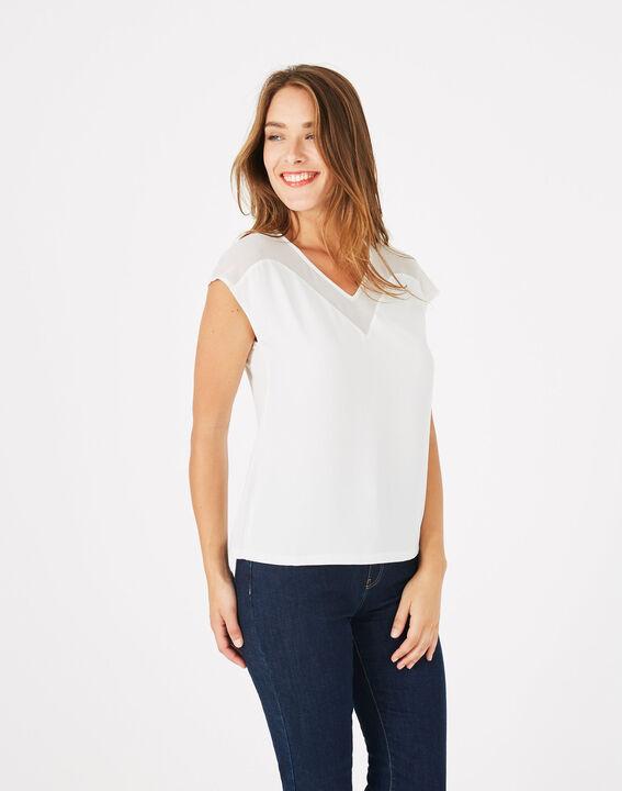 Tee-shirt écru bi-matière Beryl (3) - 1-2-3