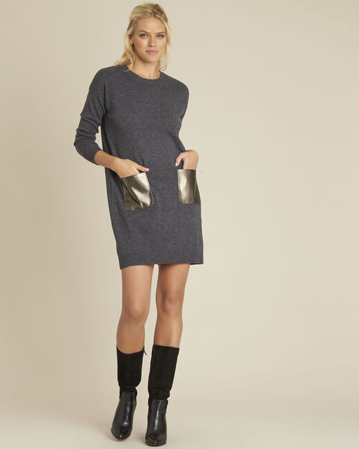Baltus grey knit dress with faux leather pocket (1) - 1-2-3