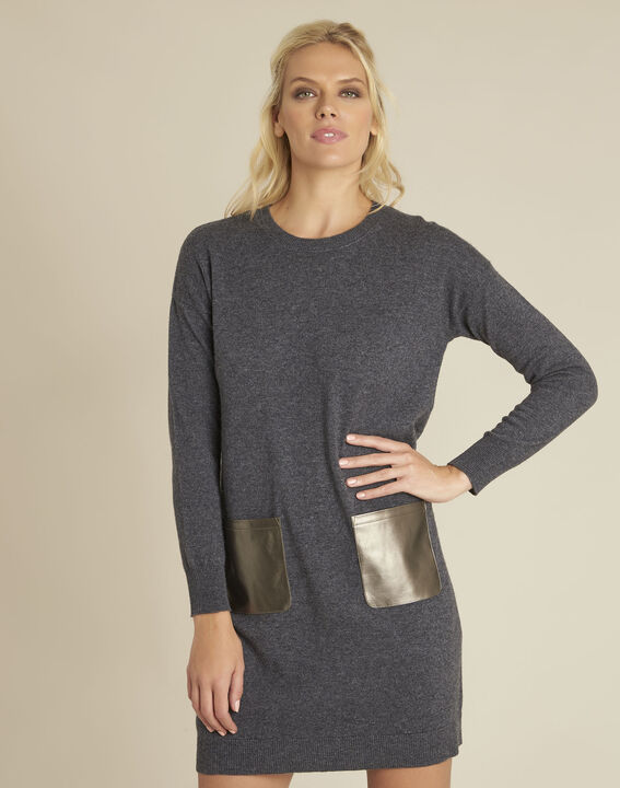 Baltus grey knit dress with faux leather pocket (1) - Maison 123