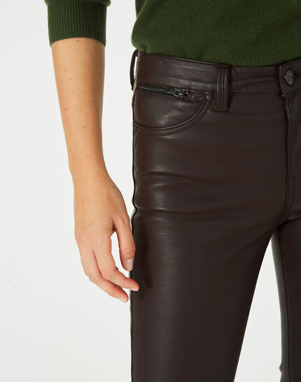 Pantalon chocolat slim faux cuir William (3) - 1-2-3