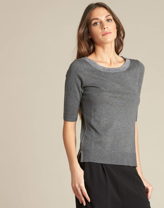 Nath grey cotton sweater with short sleeves (3) - 1-2-3