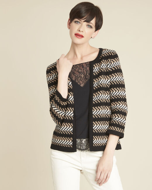 Bellini black striped cardigan (2) - 1-2-3