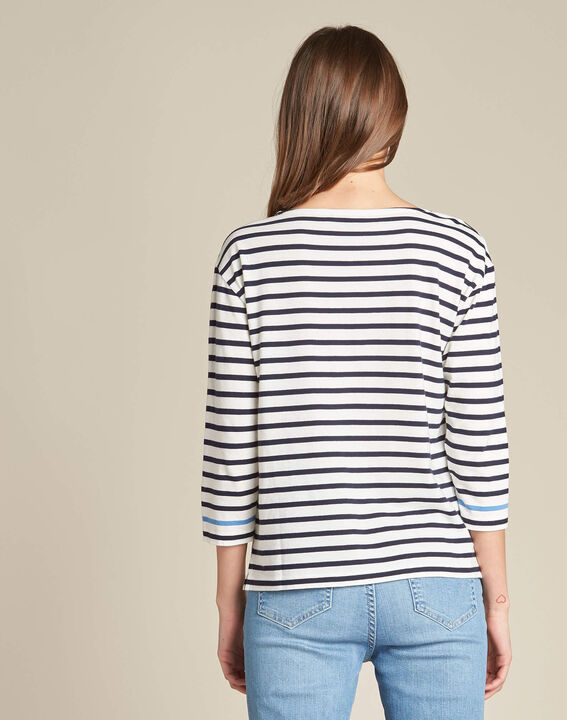 Emerine striped printed T-shirt with 3/4 length sleeves (4) - 1-2-3