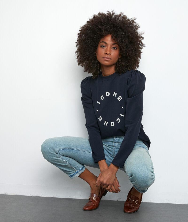 Sweatshirt mit Aufschrift marineblau East PhotoZ | 1-2-3